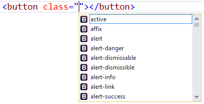visual studio bootstrap intellisense not working