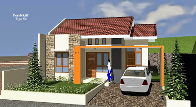 Contoh desain rumah tipe 54