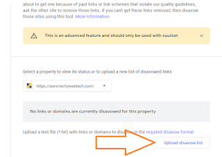 Click To Upload disavow list