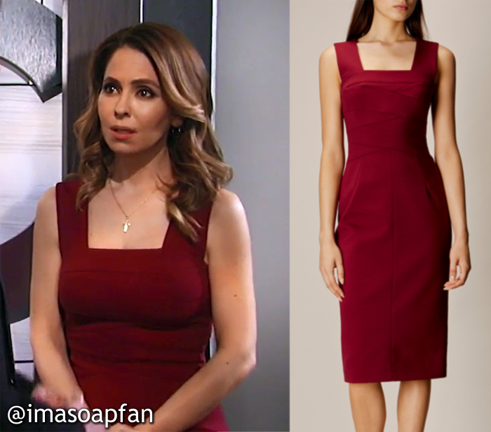 Olivia Falconeri, Lisa LoCicero, Red Square Neck Pencil Dress, Karen Millen, GH, General Hospital