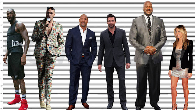 """Tyson Fury standing with Deontay Wilder (6'6.5""""), The Rock (6'2.5""""), Hugh Jackman (6'1.5""""), Shaquille O'Neal (7'1""""), and Jennifer Aniston (5'5"""")"""