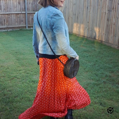 awayfromblue Instagram | denim jacket red boho maxi skirt in winter ankle boots amerii rattan black circle bag