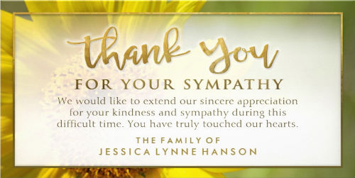 golden sunflower 4x8 horizontal sympathy thank you card