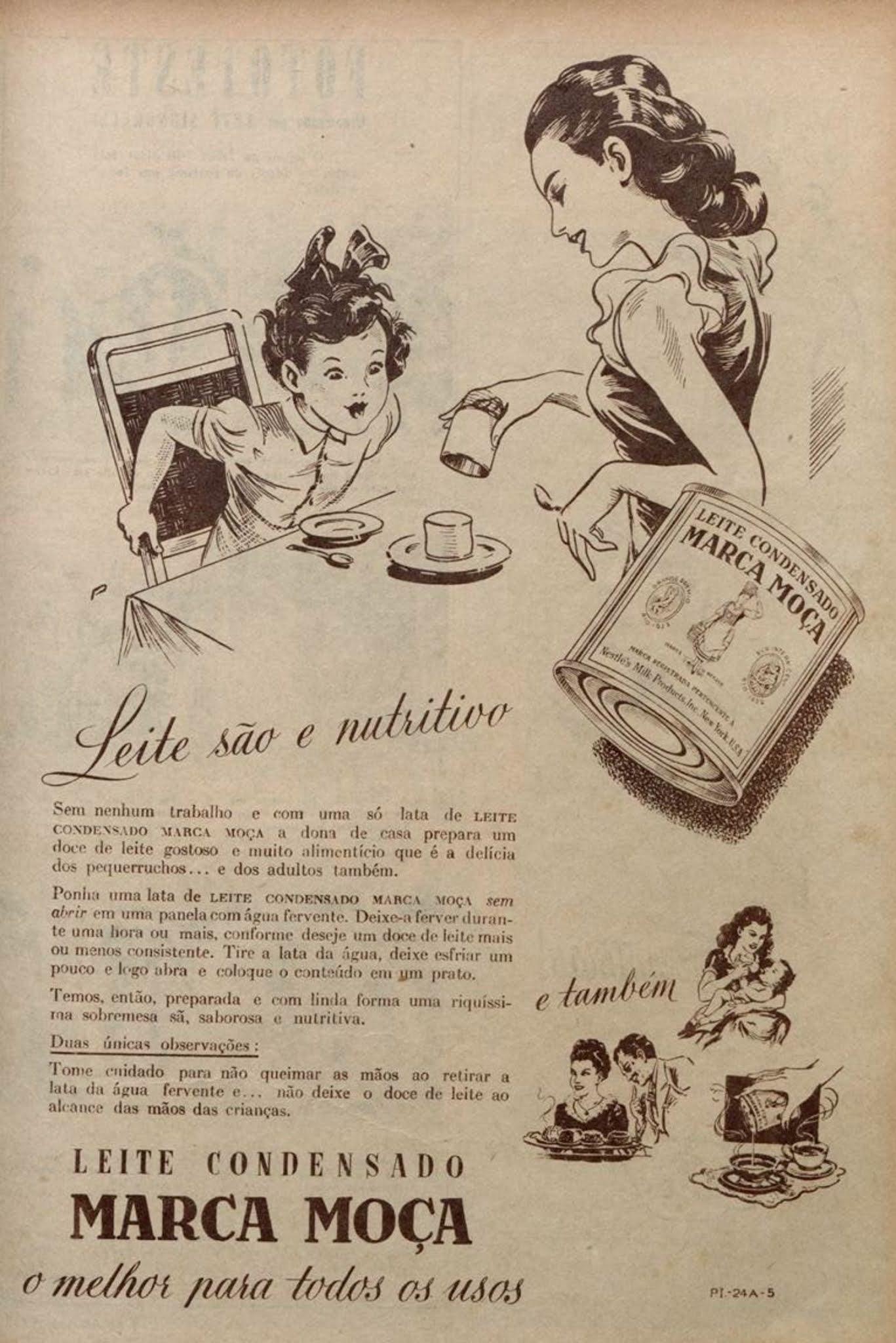 Propaganda antiga da Nestlé promovendo o Leite Moça em 1949