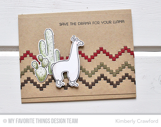 Handmade card from Kimberly Crawford  featuring Llama Love stamp set and Die-namics, and Stepped Up Chevron Die-namics #mftstamps
