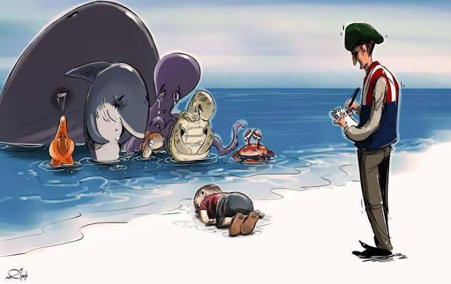 karikature dječaka izbjeglice