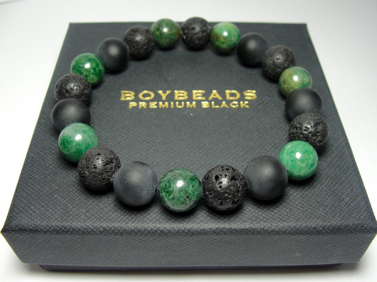 Edgar Ernest Boybeads Green African Jade Sterling Silver Crowned Lion Beaded Bracelet Gift Set For Men