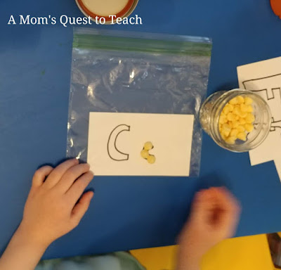 Making letters using chocolate chips