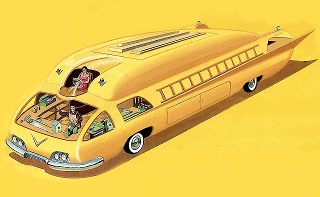 a Bruce McCall illustration of a giant yellow family car