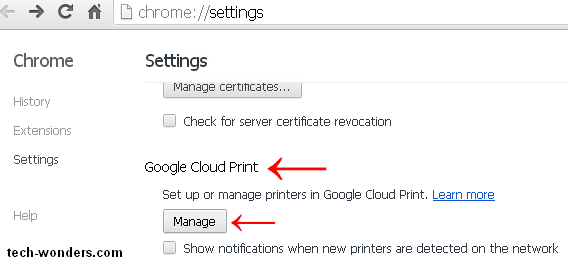 Google Cloud Print in chrome://settings/