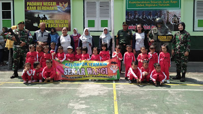 Kodim 0706 Temanggung Kedatangan Anak-Anak Paud Sekar Wangi Desa Gesing Kandangan Ingin Lebih Tahu Dan Lebih Dekat Dengan TNI