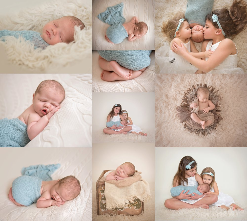 Studio photos of a newborn baby boy in blue wrap on cream