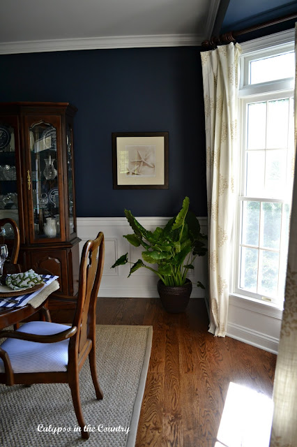 Navy Dining Room British Colonial Style