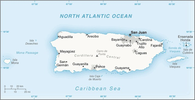 Map of the US territory of Puerto Rico, made up of one large island and several smaller islands in the Caribbean