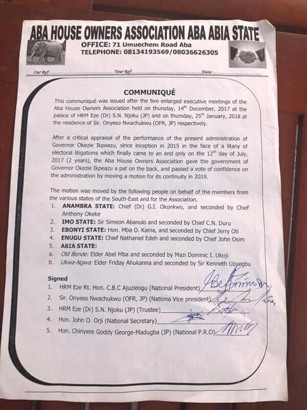 Abia 2019: Aba House Owners  endorse Ikpeazu for second tenure