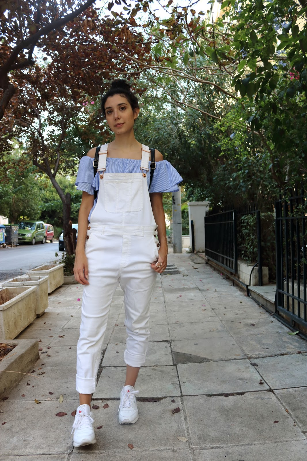 Back to School Outfit Inspiration featuring dungarees and off shoulder dress