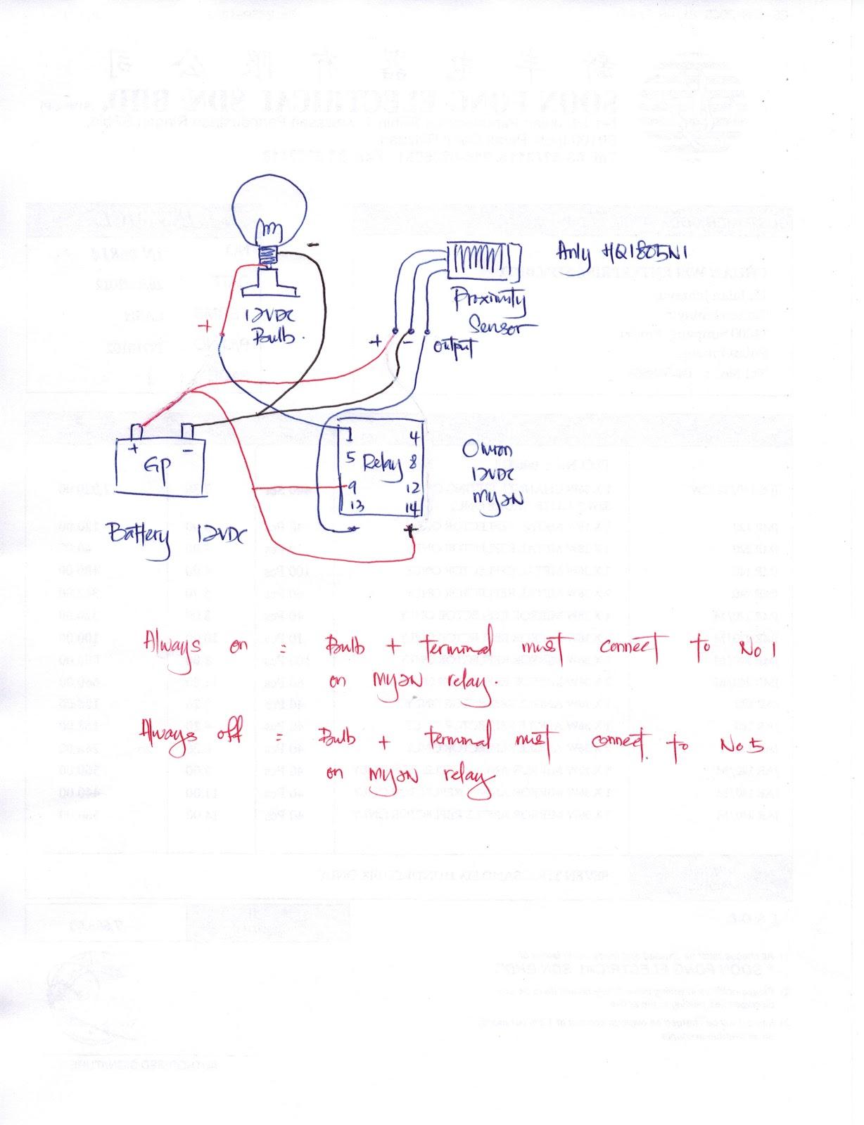 12VDC Tornado Bulb x 1unit. Omron MY2N 12VDC Relay c/with Base x 1unit.  Anly HQ-1805N1 10-30VDC Proximity Sensor x 1unit. Loose wire - 1/2meter