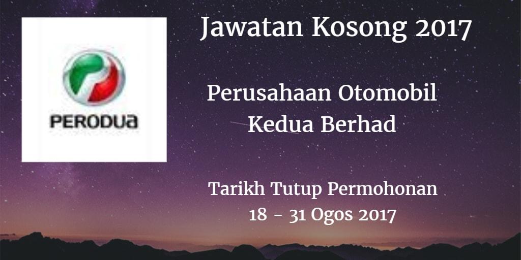 Jawatan Kosong PERODUA 18 - 31 Ogos 2017