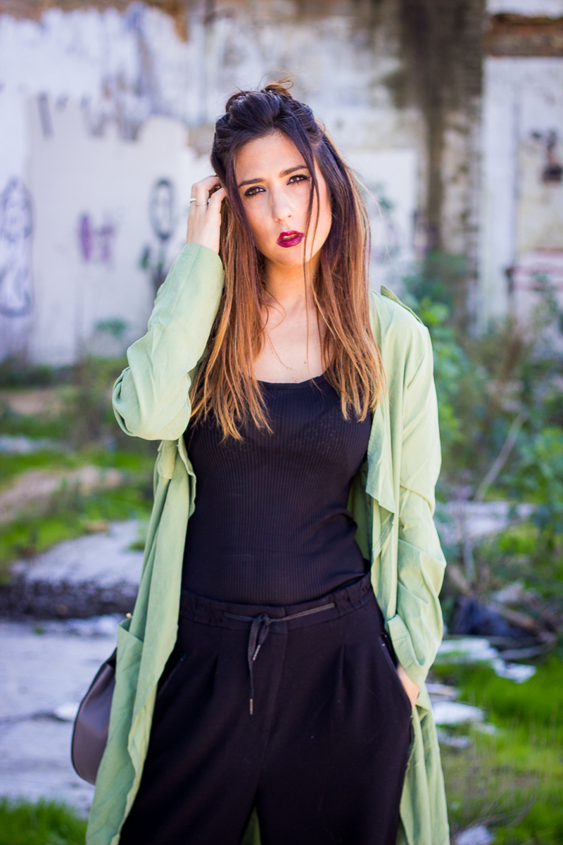 green and black street style