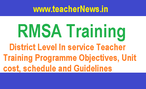 RMSA District Level In service Teacher Training Programme Objectives, Unit cost, schedule