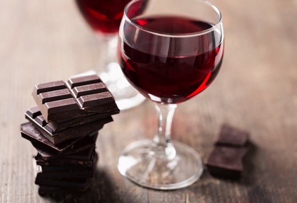 red wine, chocolate