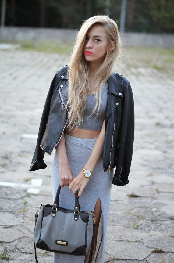 GRAY MAXI SKIRT, CROP TOP, LEATHER JACKET & RED CONVERSE