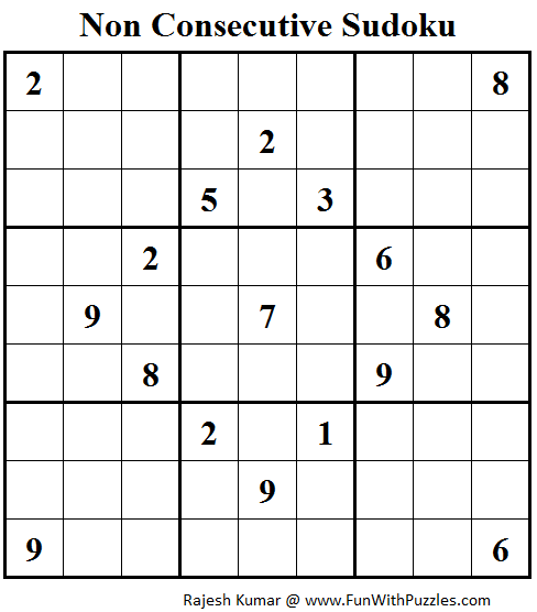 Non Consecutive Sudoku (Fun With Sudoku #89)