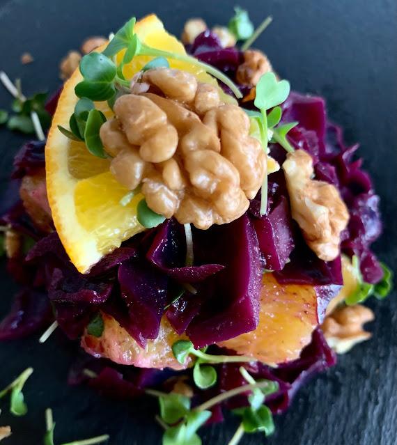 Rotkohl-Orangen-Salat mit Microgreens, Rezept, glutenfrei, vegan, schnell, einfach, growgrownut, Weihnachtsrezept, Wintersalat, Salatrezept