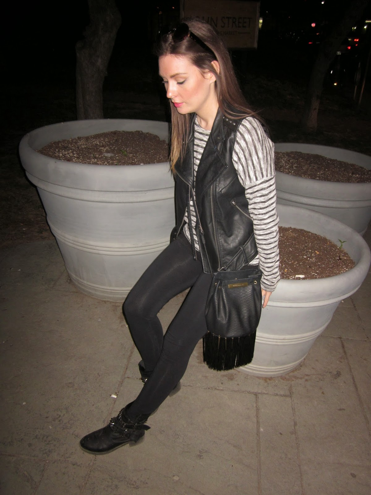 Casual Wear - Striped Sweater with Moto Vest