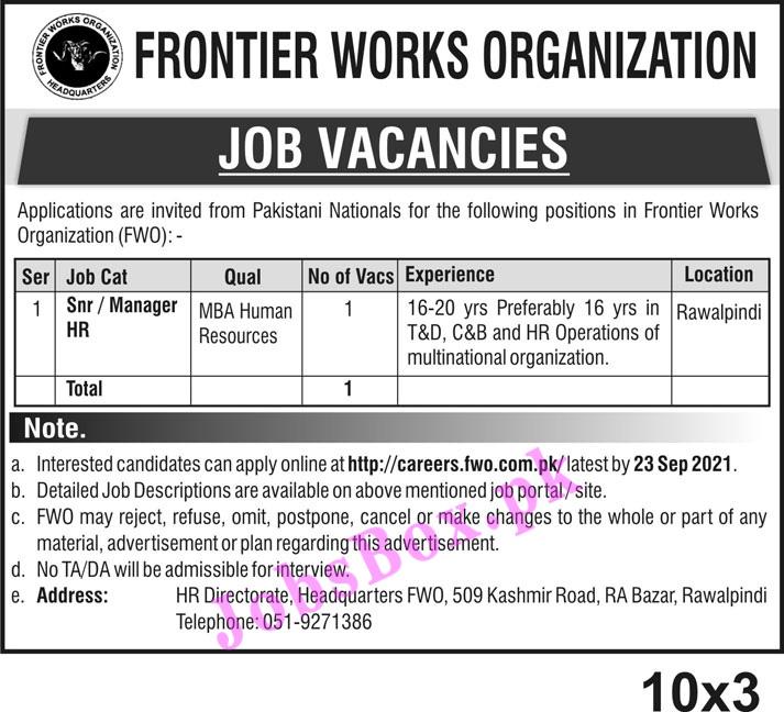 Frontier Works Organization FWO Jobs 2021 Apply via careers.fwo.com.pk