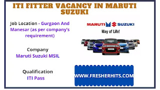 ITI Fitter Pass Jobs In Maruti Suzuki