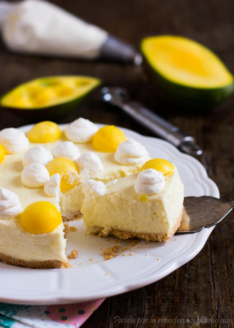 Tarta fría de mango