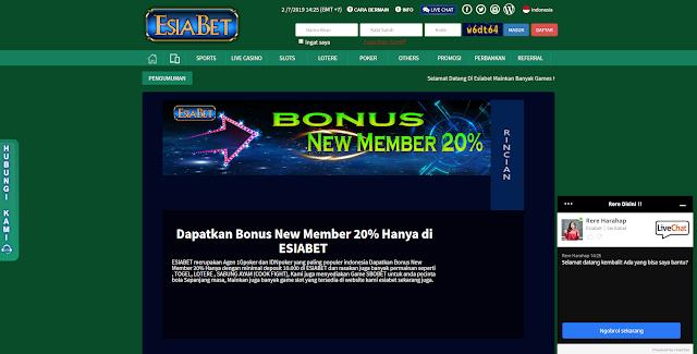 Esiabet Agen Judi Online Bonus New Member 20%