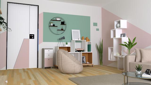 Furnitur pendukung ruang tamu bertema Graphical Pop