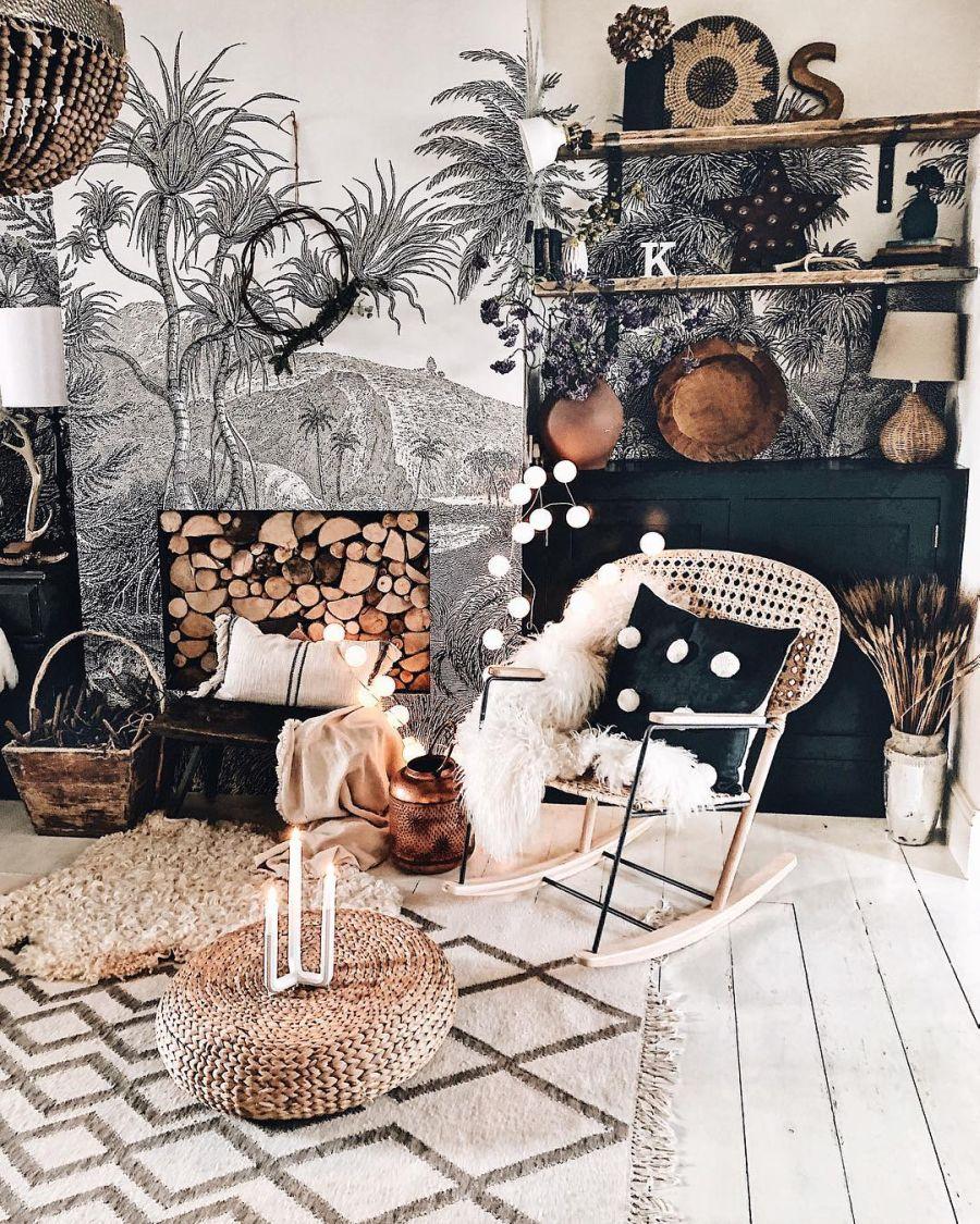 wystrój wnętrz, wnętrza, urządzanie domu, dekoracje wnętrz, aranżacja wnętrz, inspiracje wnętrz,interior design , dom i wnętrze, aranżacja mieszkania, modne wnętrza, boho, boho style, styl skandynawski, scandinavian style, styl eklektyczny, salon, pokój dzienny, fototapeta, living room, atrapa kominka,