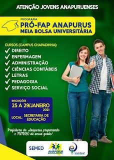 Prefeitura de Anapurus-MA em parceria com a Faculdade do Baixo Parnaíba (FAP), garante bolsas para Jovens Anapuruenses