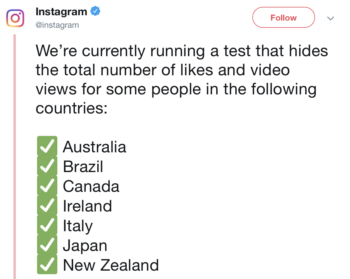 instagram removing likes