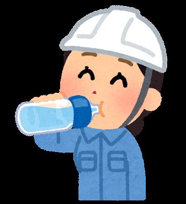 水分補給をする作業員のイラスト(女性)