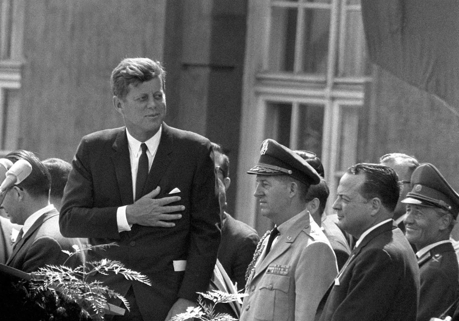 President John F Kennedy giving a speech at the Schoeneberg city hall in Berlin, where he said his famous German sentence