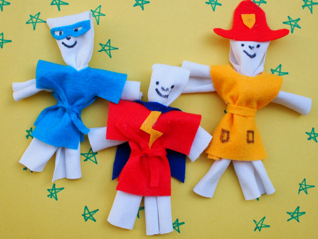 How to make super hero dolls from cloth with kids! Super easy and no sewing required!
