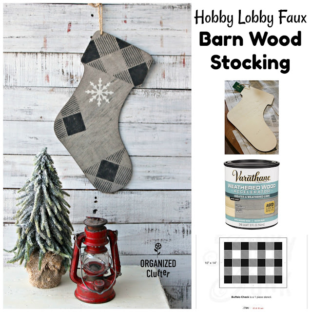 Decorated Hobby Lobby Wooden Stocking