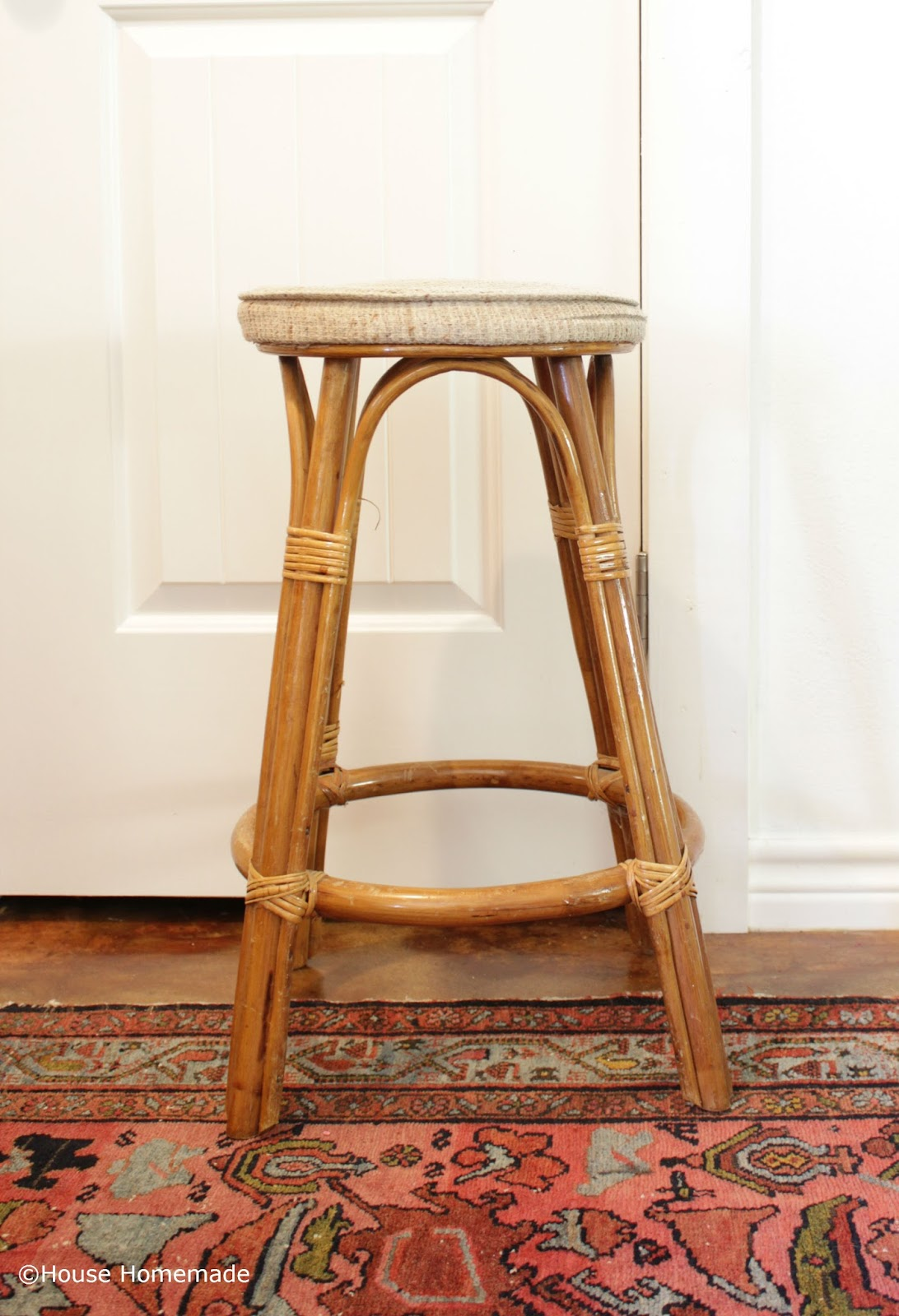European Bistro Stool With Paint And Fabric   House Homemade