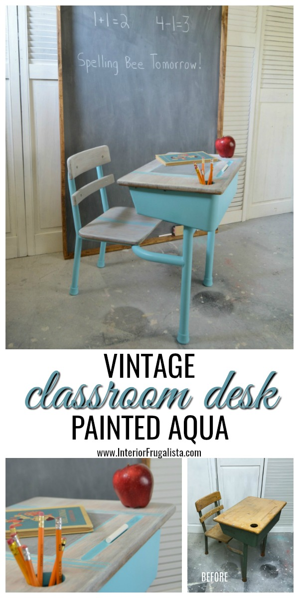 How to upcycle a vintage metal and wood classroom desk with bright turquoise paint and a whitewash finish plus a DIY chalkboard top writing slate. #vintagedesk #vintageclassroomdesk #vintageschooldesk #childrensdesk
