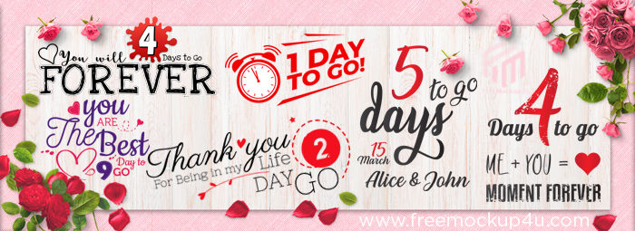30 Wedding Love Quotes, Save The Date, 1 Day to Go Pack