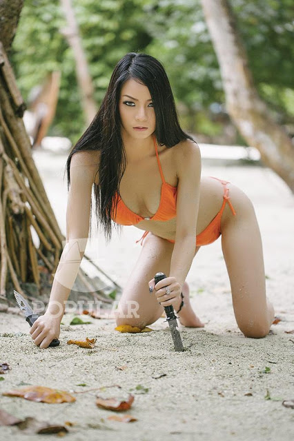 Velent Cathleen Orange Bikini on Popular Survivor Photoshoot Model