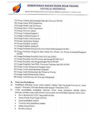 Informasi Rekrutmen Pegawai Pemerintah Non-PNS Kementerian BUMN Tahun 2017