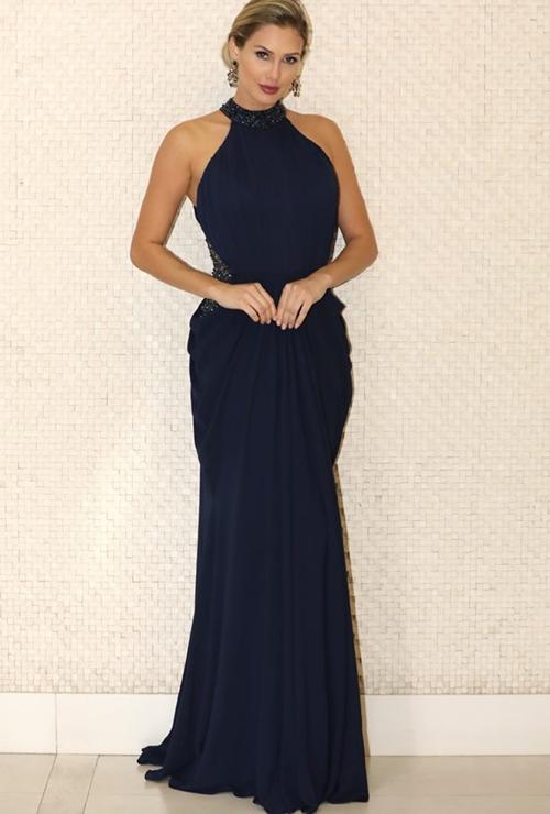 vestido azul marinho longo madrinha