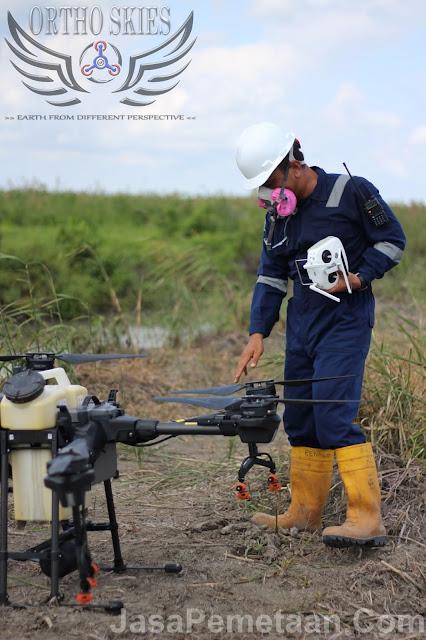 survey lahan tambang drone spray