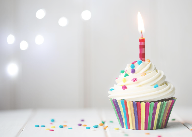 A birthday cake in a post about setting my monthly goals for August 2020.
