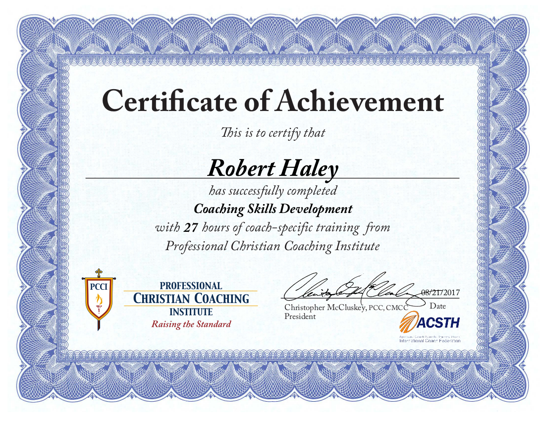 Robert Haley | Coaching Skills Development Certificate of Achievement | PCCI